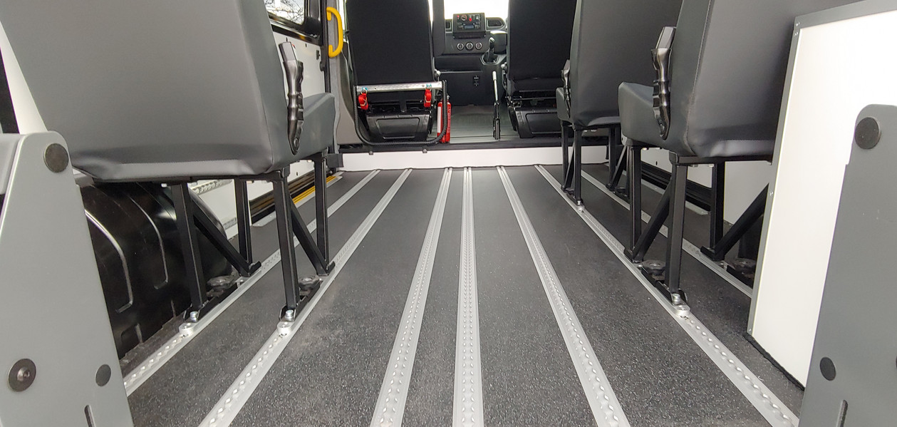 Strengthened flooring within Warnerbus conversion to Renault Master