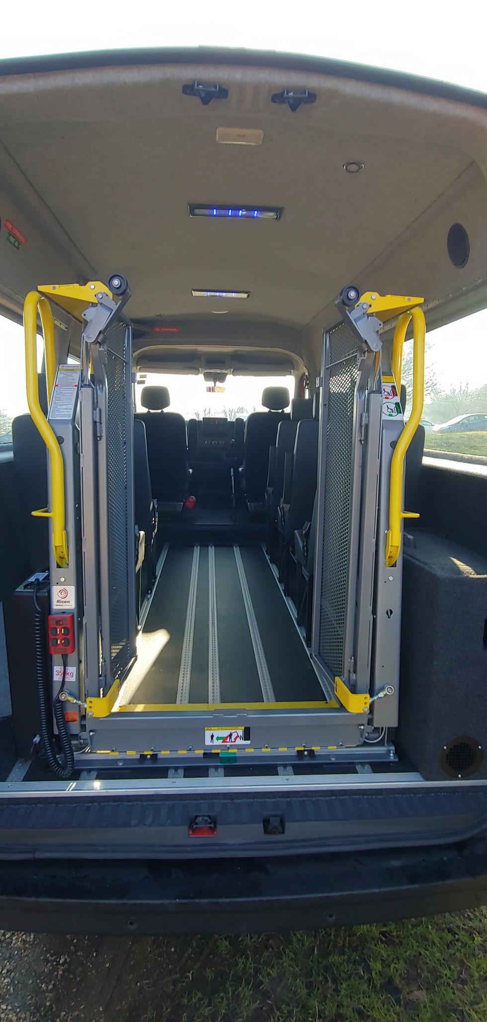 Ricon tail lift in Warnerbus Minibus conversion