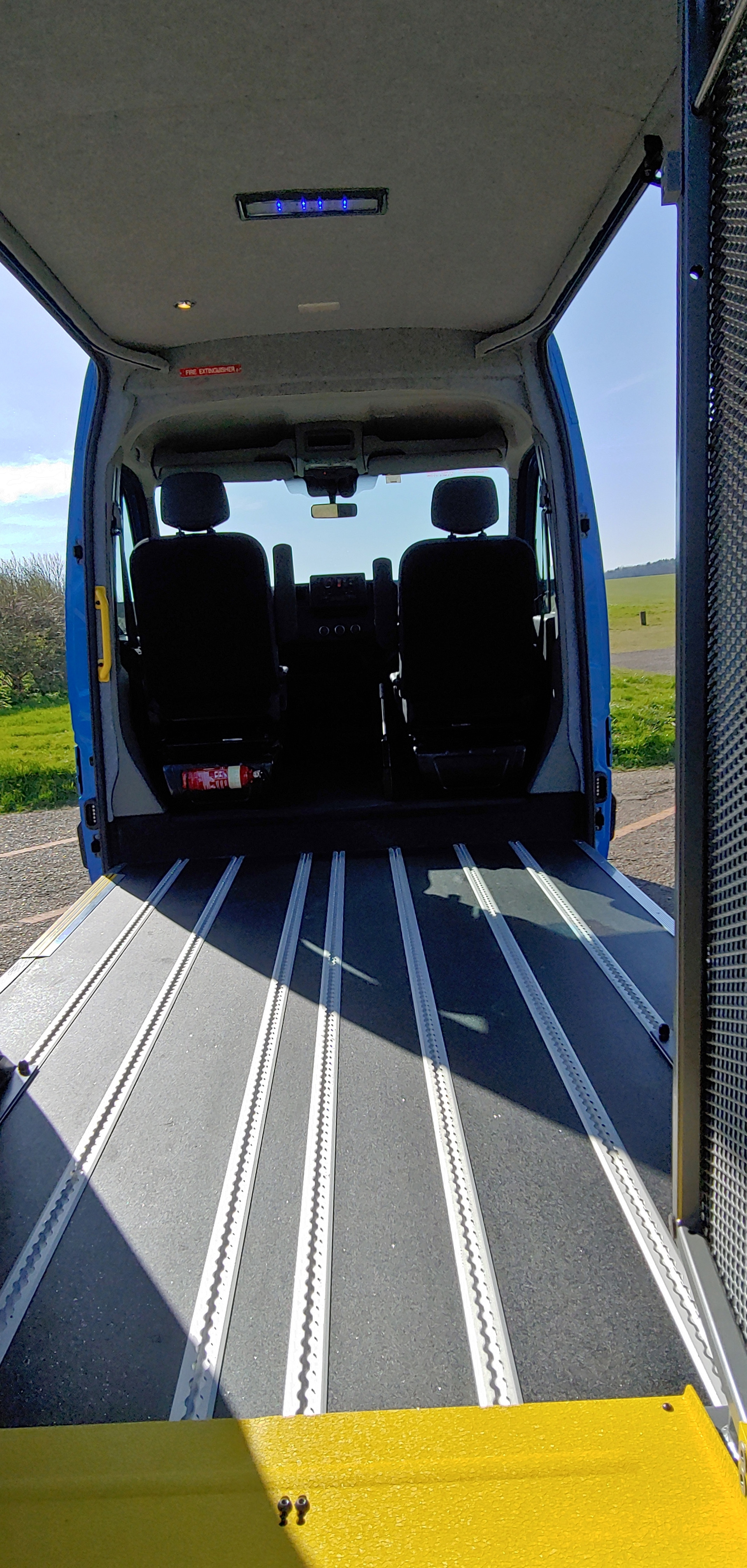 Lift at floor level in Wheelchair Accessible Minibus