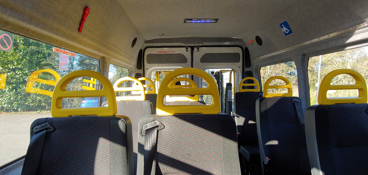 Seating within Warnerbus converted Citroen Relay