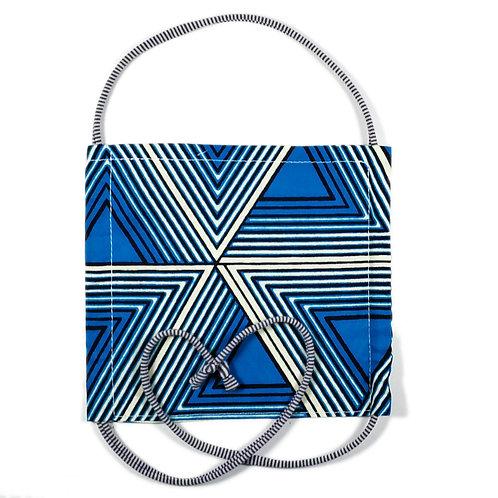 African Waxprint mit grau gestreiftem Bändel | Teens und Erwachsene