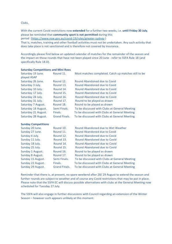 SSFA Season Update - 15 July 2021