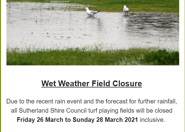 Wet Weather Field Closure