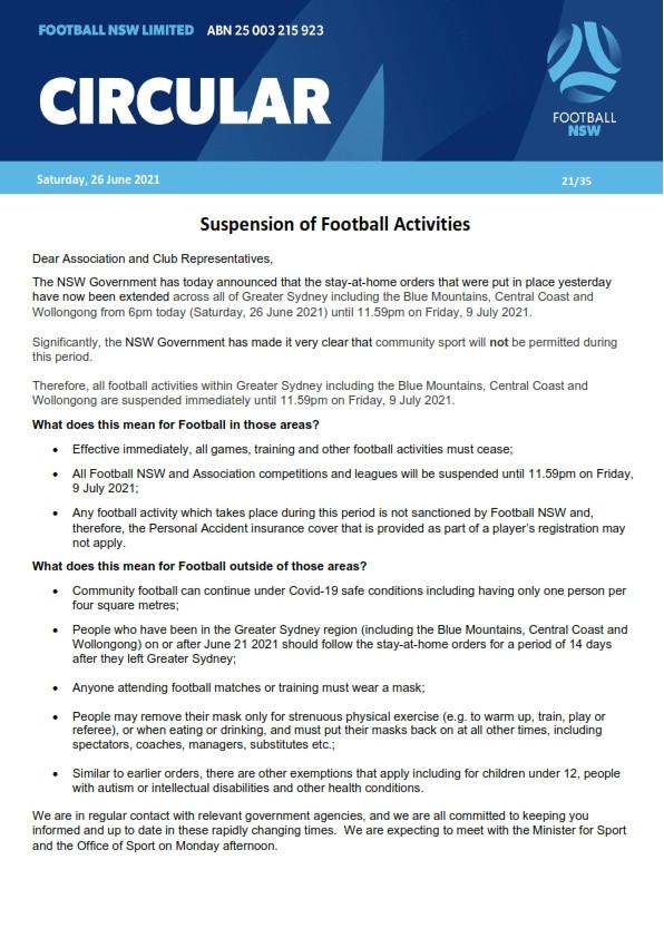 Suspension of Football Activities