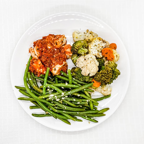 Baked Chicken Marinara- Vegetable Medley- Garlic Parmesan Green Beans