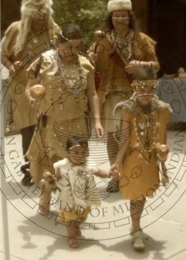 Five Gabreleno Tongva Native Americans in Regalia