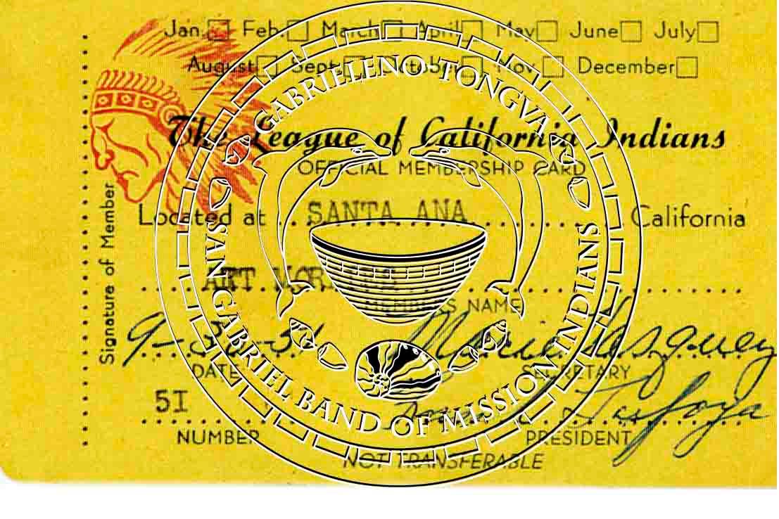 Leage of California Indians Membership card