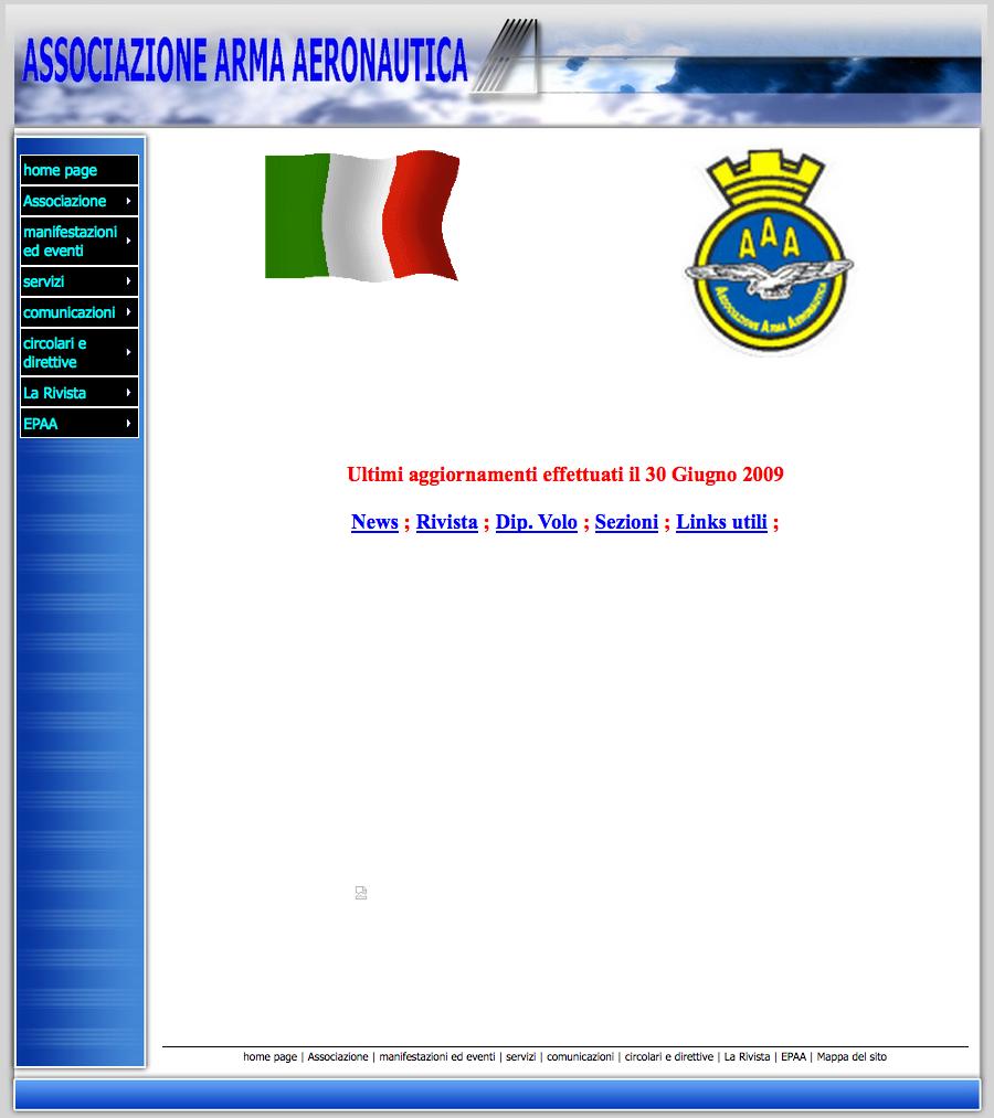 Il sito web nel 2009