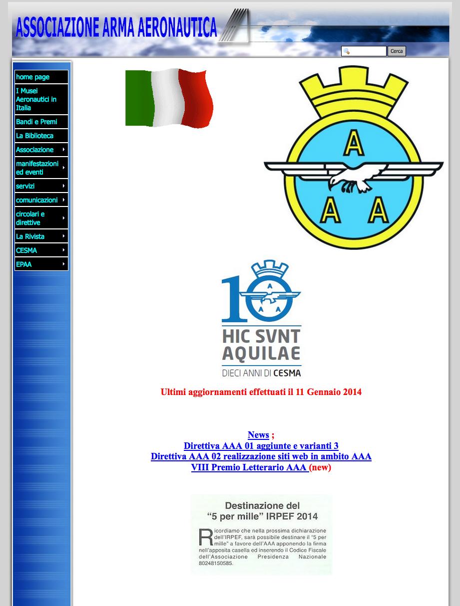 Il sito web fino a Marzo 2014