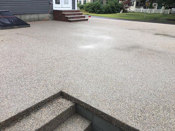Exposed aggregate concrete patio