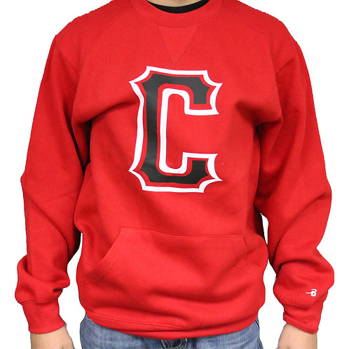 Red Crewneck Sweatshirt with Pocket