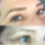 Microblading before and after, eyebrow tattoo, permanent makeup, combination brows