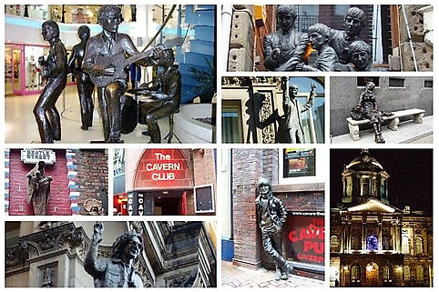 Collage of Beatles sites visited on Beatles walk of Mathew St area, Liverpool