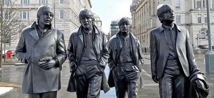 Beatles Statue at Liverpool Pier Head in the snow