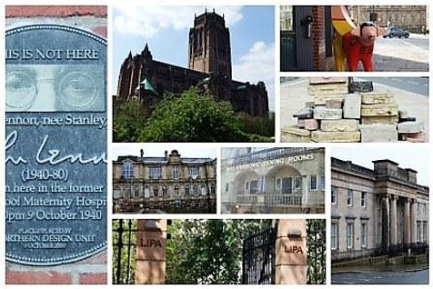 Collage of Beatles sites visited on Beatles walk of Hope St area, Liverpool
