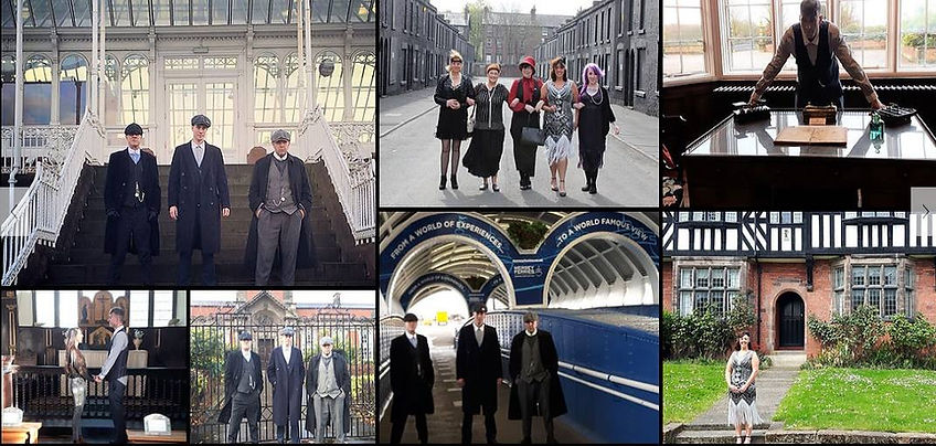 Collage of images from Peaky Blinders tours of Liverpool by Peaky Locations Tours