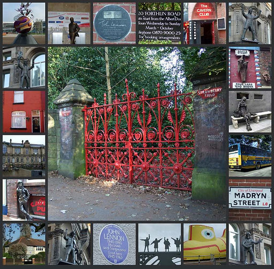 Beatles Tour of Liverpool - collage of Beatles sites