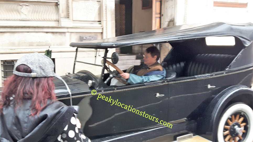 A vintage car at Peaky Blinders filming Liverpool