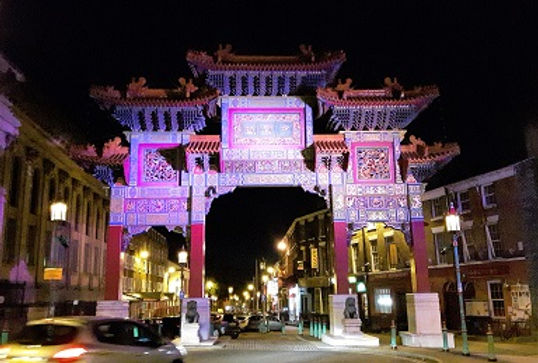Chinese Arch illuminated in Liverpool's Chinatown