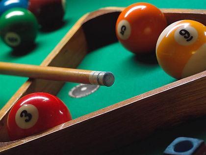pool cue, billiards balls and rack