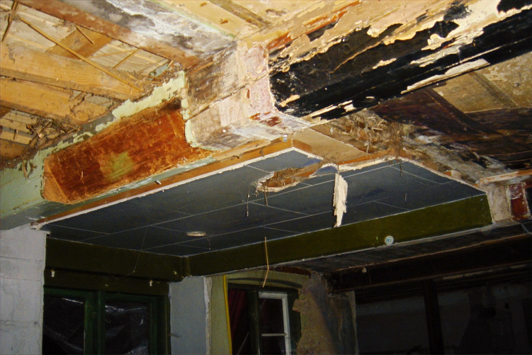 A water damaged rafter