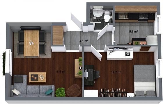 3D floor plan overview of your interior
