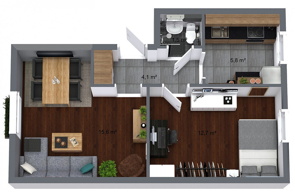 3D floorplan overview of your new home