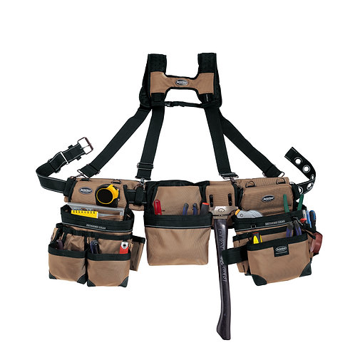 TAN FRAMER'S TOOL BELT with SUSPENDERS