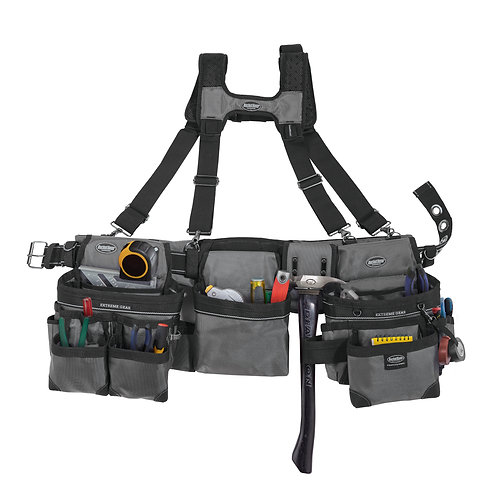 GREY FRAMER'S TOOL BELT with SUSPENDERS