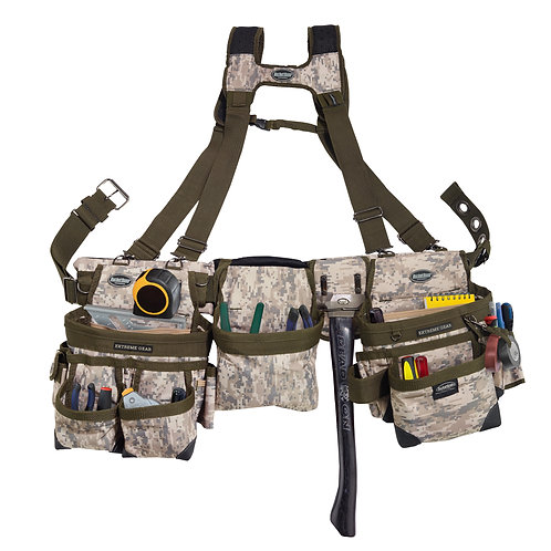 DIGITAL CAMO FRAMER'S TOOL BELT with SUSPENDERS