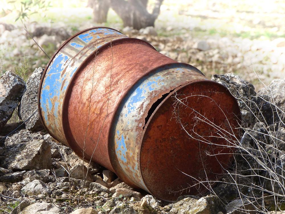 Rusty Waste Drum