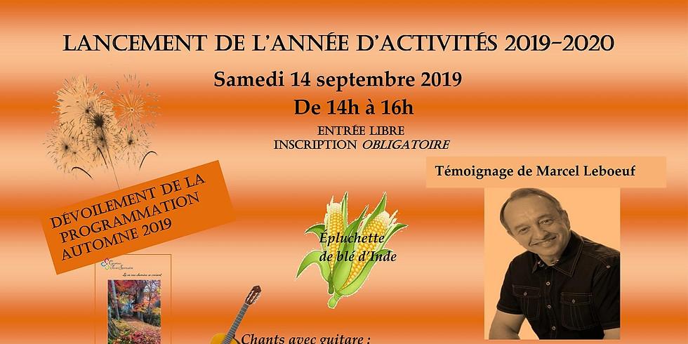 Lancement de l'année d'activités 2019-2020 et dévoilement de la programmation automne 2019- Un événement gratuit