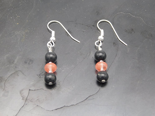 Shungite & Rose Quartz Earrings