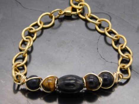 Gold Wire Wrapped Shungite and Tiger's Eye Bracelet