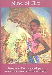Image of angel tarot card 9 of Fire showing a dragon tamer