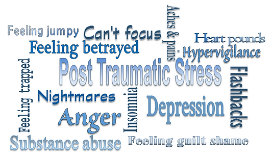 Image of a wordle showing symptoms of PTSD