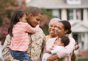 Image of military family saying goodbye