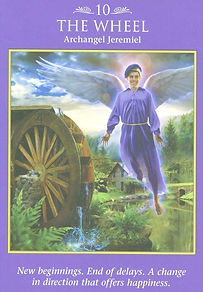 Image of angel tarot card 10 depicting archangel Jeremiel