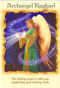 Image of oracle card with Archangel Raphael