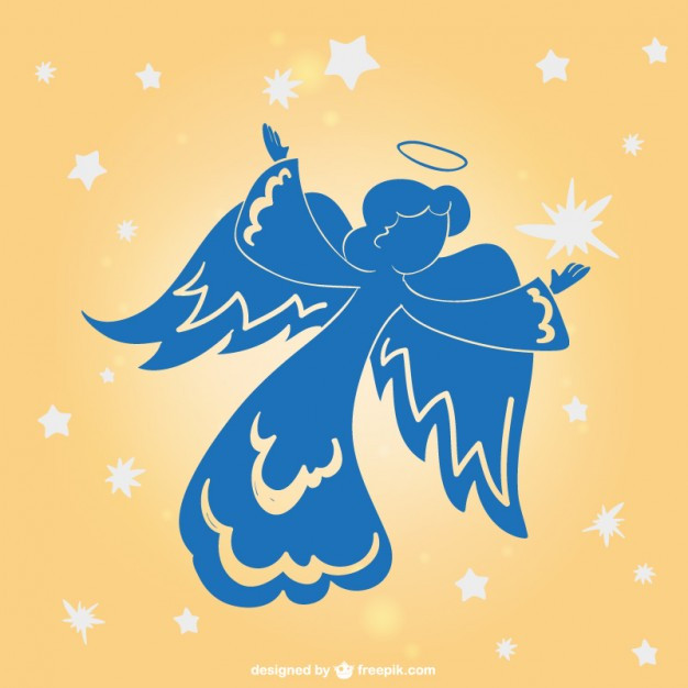Drawing of a blue angel silhouette against a peach colored background with white stars