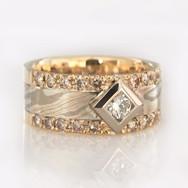 Mokume Diamond Ring