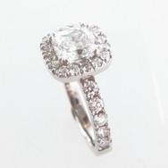 18ct White Gold Cushion Cut Diamond Ring