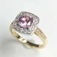 Two Tone Pink Sapphire & Diamond Ring