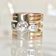 Tri coloured Diamond ring