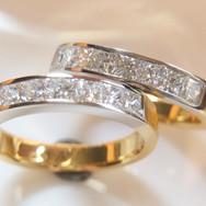 18ct Two Tone Princess Cut Diamond Ring