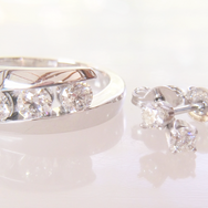 Diamond 3 Stone and Earrings