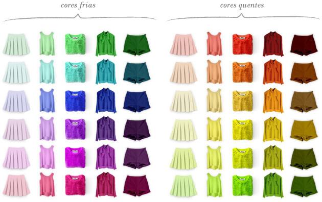 Exemplo de roupas em cores quentes e cores frias