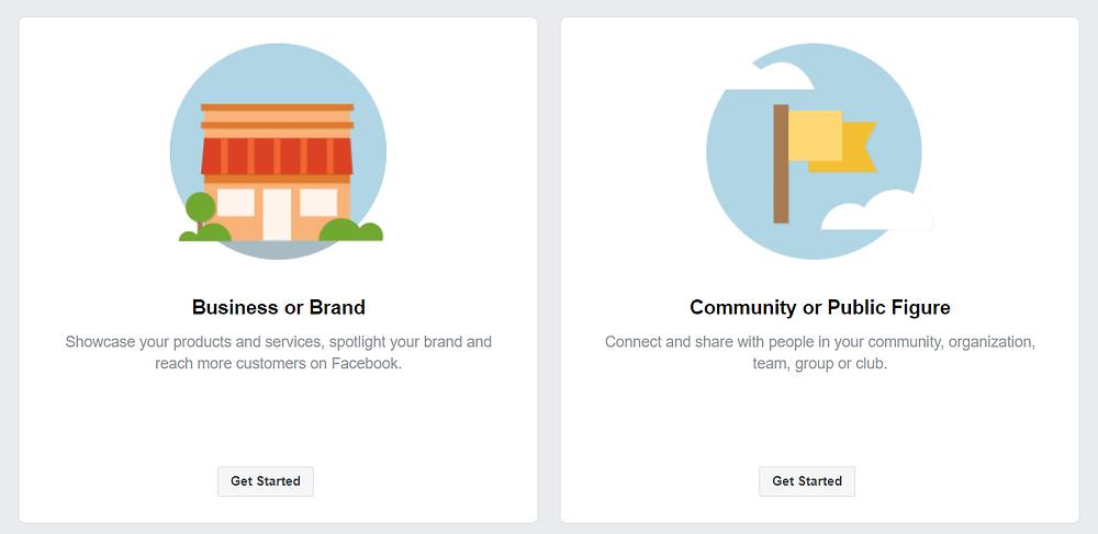 אפשרויות פתיחת דף פייסבוק