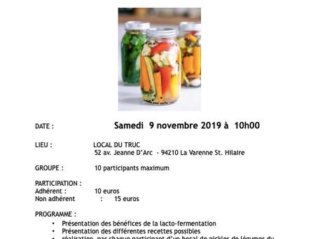 samedi 9 juin Atelier Cuisine