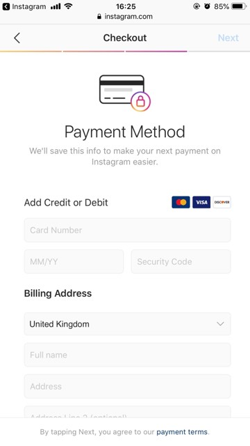 Fill in payment details